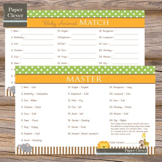 name the baby animal game baby shower baby animal game jungle theme instant download