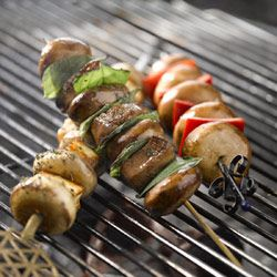 Halloumi and mushroom skewers. Braai sides with a bit of class
