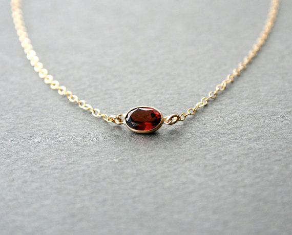 Gold Oval Garnet Necklace  Ready to Ship January by StudioGoods, $37.00