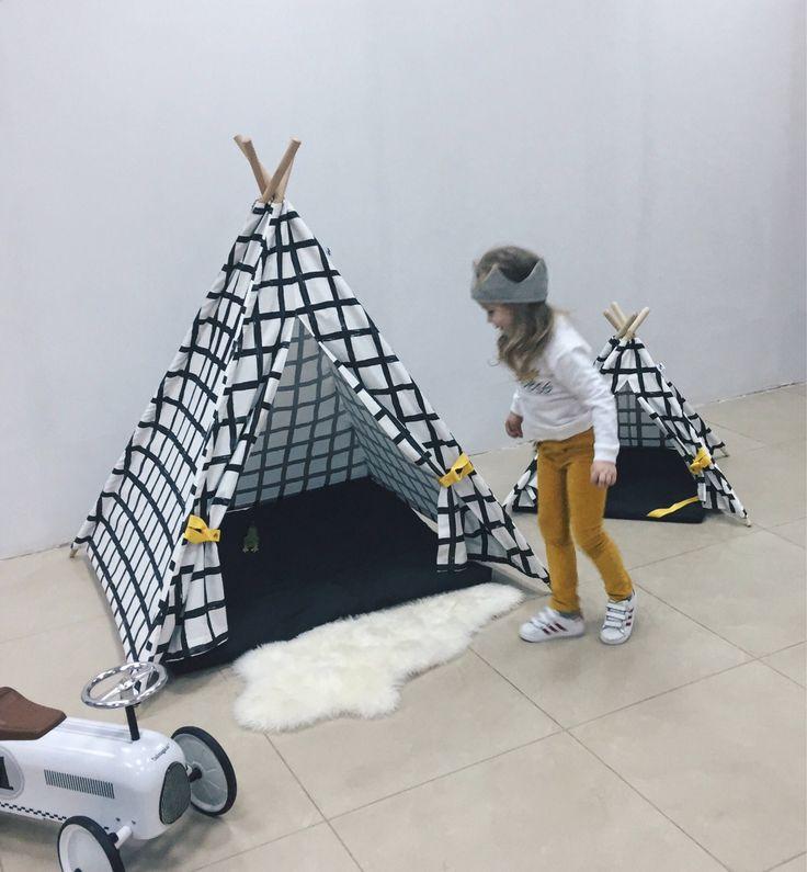 Black and white <b>canvas teepee</b>, childrens <b>teepee</b>, kids <b>teepee</b>, play ...