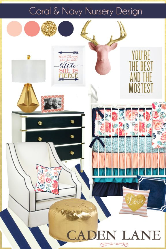 Coral and Navy Nursery Design with gold accents is perfect with Caden Lane's Everly's Garden Baby Bedding. Are you drooling yet?