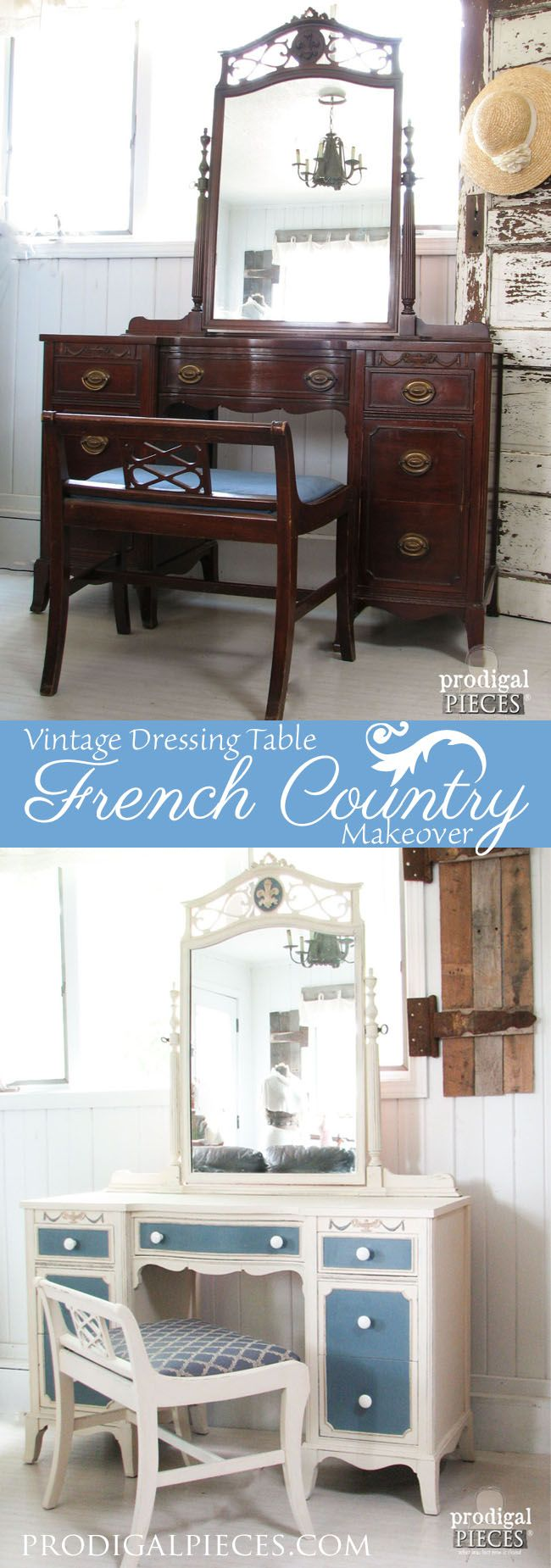 Vintage Dressing Table Gets a French Country Makeover by Prodigal Pieces www.prodigalpieces.com #prodigalpieces