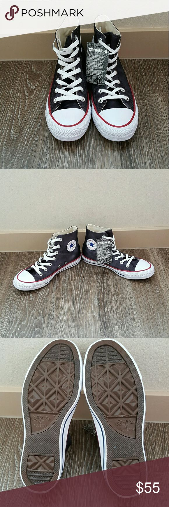 1 HOUR SALE!! Nwt Converse black sheen high top NWT Converse black sheen high top sneakers size 6 please look at pics for color details. No trades please dont ask! No box included Converse Shoes Sneakers