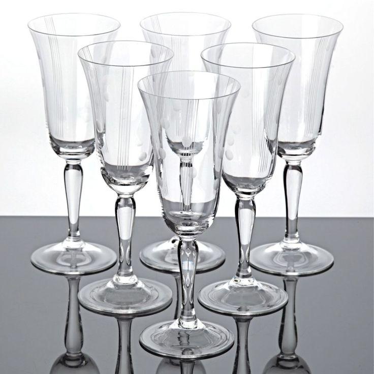 6 alte Sektgläser Vintage Gläser Punkte Linien Gravur ~ 40er - 50er Jahre