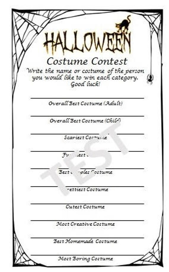 Halloween Costume Contest 2020 Ballot Halloween Costume Contest Ballot | Etsy | Halloween costume