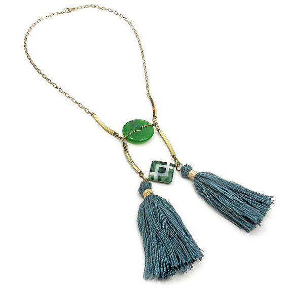 Green Tassel Necklace - Gemstone Statement Necklace - Emerald green/ Olive Green - Tassel Bib Necklace - Boho Jewelry   by osofreejewellery
