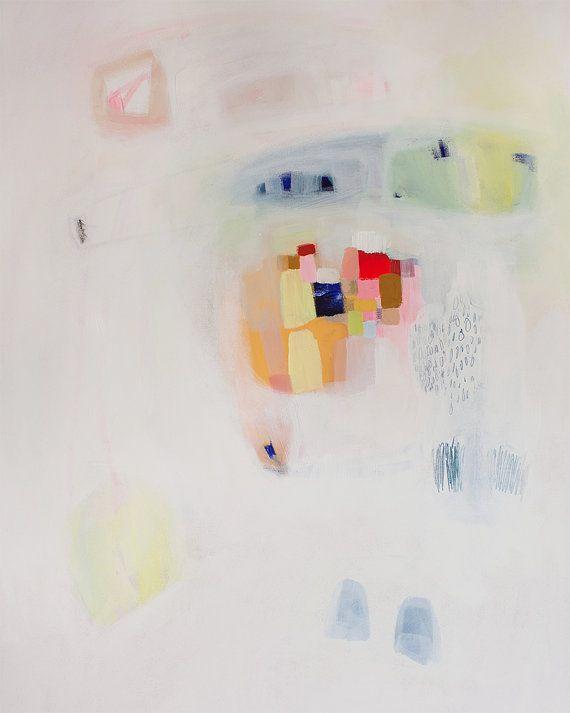 GICLEE PRINT white yellow pink modern art by LolaDonoghue on Etsy