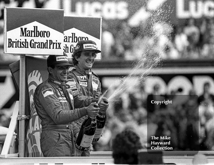 Winner Alain Prost and second-placed Michele Alboreto on the podium, British Grand Prix, Silverstone, 1985. #f1 #formula1