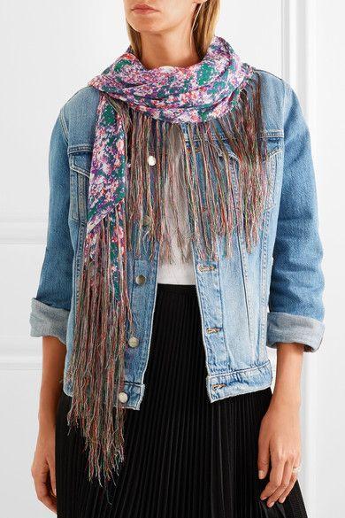 ISABEL MARANT Timeo fringed printed chiffon scarf