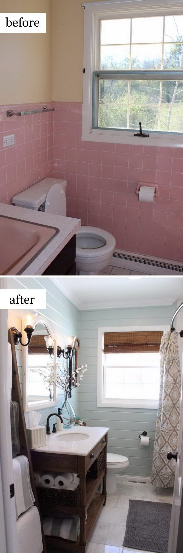 Rustic Chic Bathroom Makeover.                                                                                                                                                                                 More