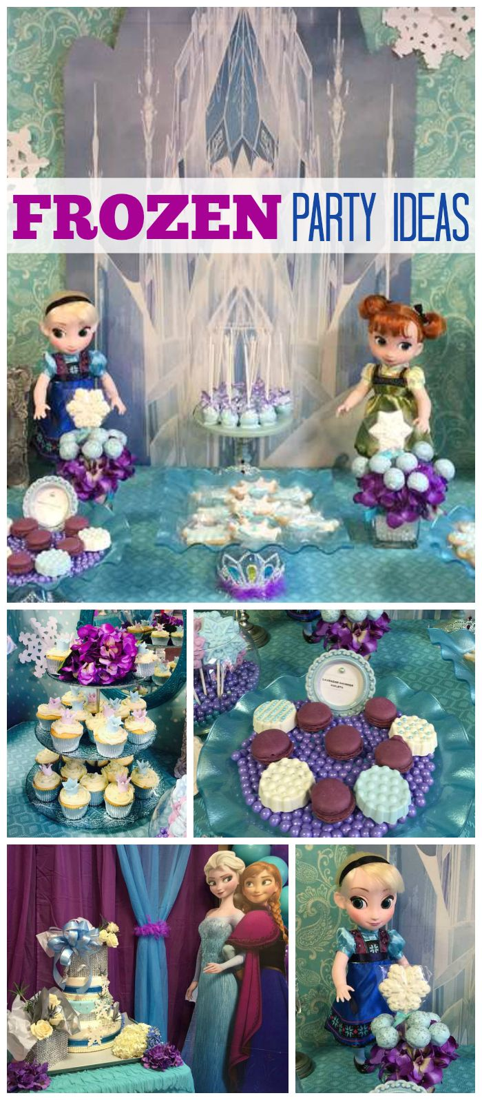 A fun Frozen girl birthday party in blue and purple with pretty cake pops, cookies and cake! See more party planning ideas at CatchMyParty.com!