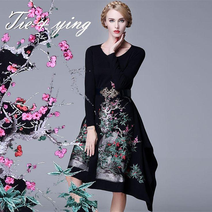 Купить товарВинтажное вечернее платье королевской вышивкой для элегантных дам. Рукава длинные, асимметричный покрой ниже колен, 3 цвета в продаже. в категории Платьяна AliExpress.        уважаемый клиент,  добро �%B