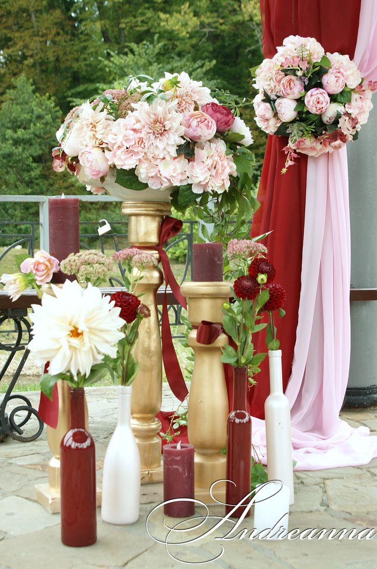 оформление свадьбы, марсала и пудра