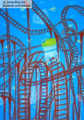 <롤러코스터, Rollercoaster, oil pastel, 2014>