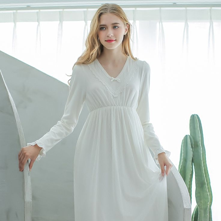 Cotton Women's Long Nightdress Simple style sleepwear as outerwear $75.48 => Save up to 60% and Free Shipping => Order Now! #fashion #woman #shop #diy www.homeclothes.n...