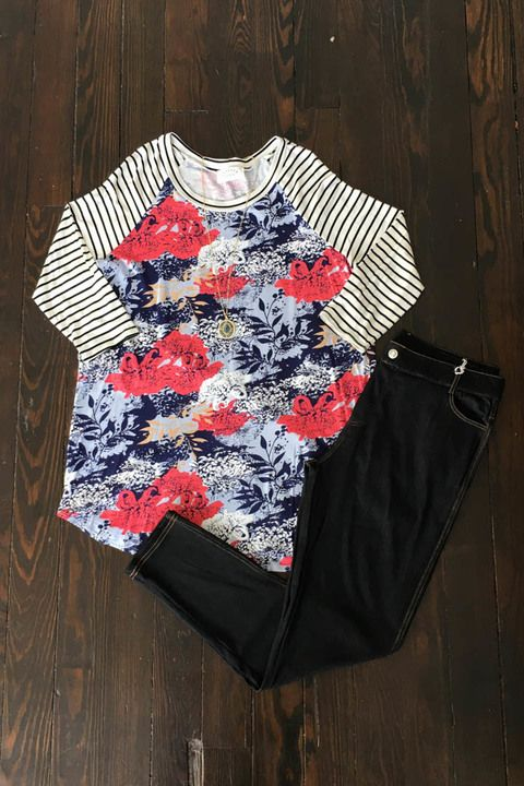 Floral Dream Top And Jegging Outfit - Sizes 12-20