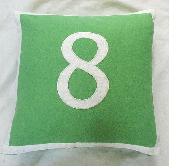Making throw pillows with all the numbers of our wedding date