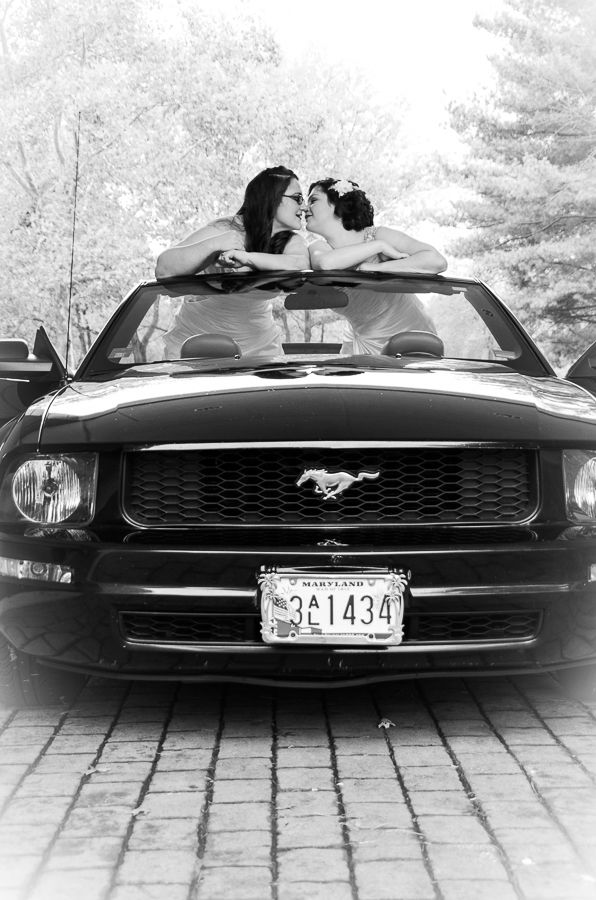 Two brides in a mustang. LGBT Wedding photography by Blue Photography & 97 best Ford Car Weddings images on Pinterest | Mustangs Ford and ... markmcfarlin.com