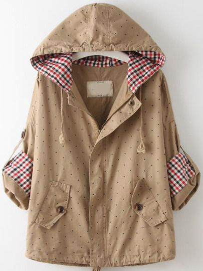 Khaki Hooded Long Sleeve Polka Dot Coat -SheIn(Sheinside) Mobile Site