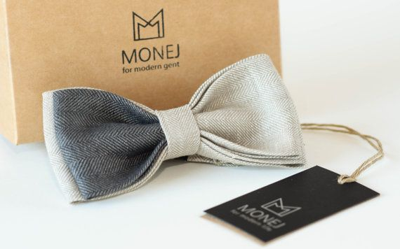 Bow Tie White Gray Linen Bowties Christmas by MonejBowTies on Etsy