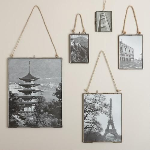With a thin antique zinc metal border and jute rope hanger, our exclusive frame highlights your photos with rustic flair. Arrange several in different sizes to create a vintage-inspired wallscape.