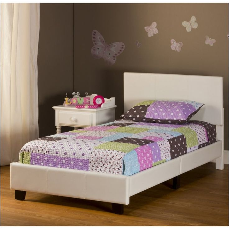 Lowest price online on all Hillsdale Springfield Bed in a Box Twin Bed in White Faux Leather - 1642-330