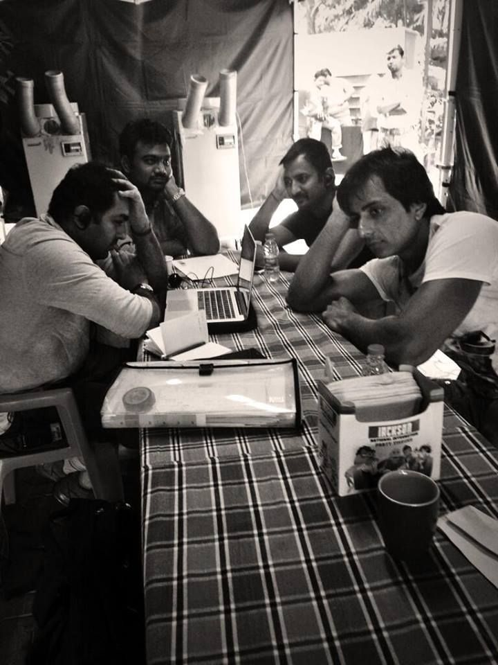 #SonuSood, our cameraman & ADs, waiting for our director #FarahKhan on the sets of #HappyNewYear!