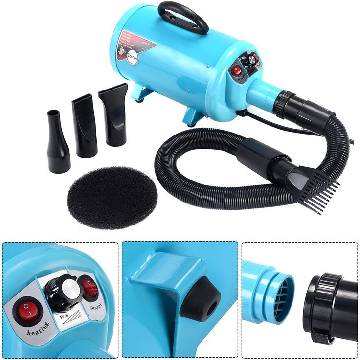 2800W Pet Grooming Dryer Dog Cat Hair Hairdryer Electrodeless Speed w/ 4 Nozzle