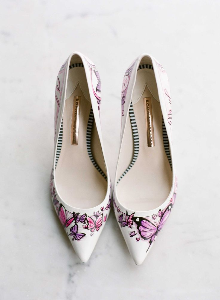 Butterfly Handpainted Wedding Heels | Photography: Heather Waraksa. Read More: http://www.insideweddings.com/weddings/summer-wedding-with-vibrant-color-palette-in-brooklyn-new-york/738/
