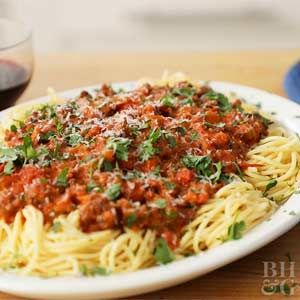 Bolognese sauce is a hearty Italian mix of meat, veggies, wine, and cream. Serve it over your favorite cut of pasta for a classic comfort food dinner.
