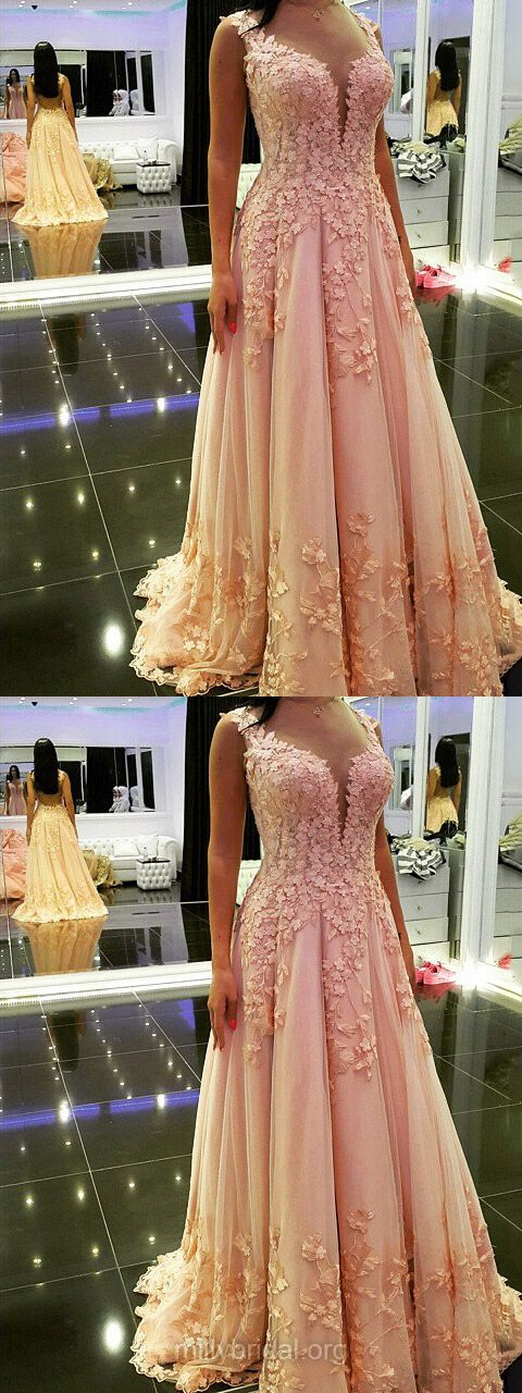 Pink Prom Dresses Long, Lace Prom Dresses Princess, 2018 Formal Prom Dresses V-neck, Tulle Prom Dresses For Girls Modest
