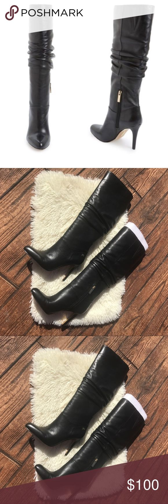 Nordstrom Black Boots🎉HUGE SALES Beautiful black boots, only wore once for an hour inside. No wear on actual boots just bottom of shoe. Gold hardware zipper up the side. Measurements upon request. Ships without box.   #blackboots #nordstrom #healboots #heals #boots Nordstrom Shoes Heeled Boots