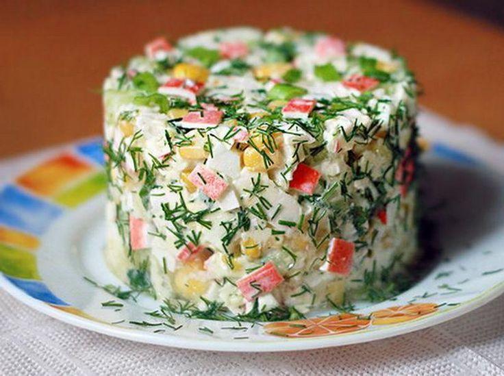 Рецепт салат из крабового мяса и морепродуктов