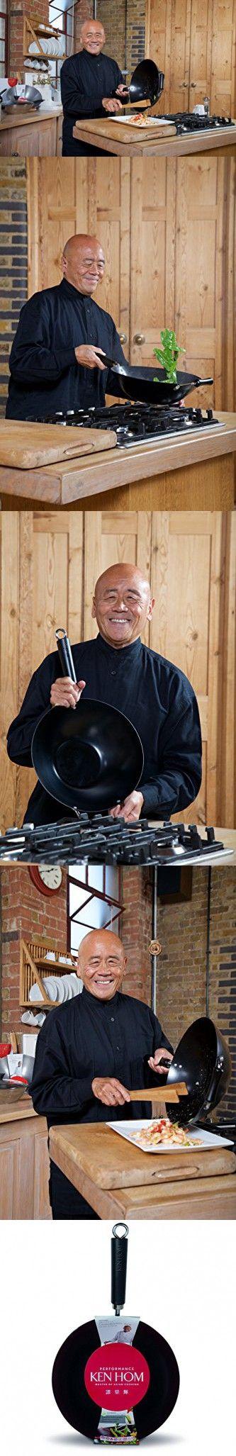 "KEN HOM Nonstick Carbon Steel Wok - Flat Bottom Asian Stir Fry Pan with Handle - 11"", Black"