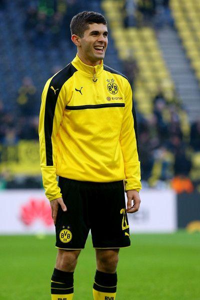 Christian Pulisic of Dortmund smiles prior to the Bundesliga match between Borussia Dortmund and Borussia Moenchengladbach at Signal Iduna Park on December 3, 2016 in Dortmund, Germany.