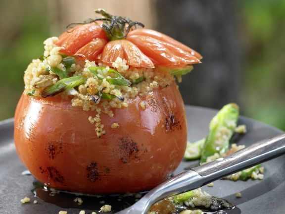 Couscous-Stuffed Grilled Tomatoes with Pine Nuts and Golden Raisins | Eat Smarter