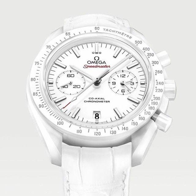 Omega basel world 2015 novelty, the Speedmaster White Side of The Moon in full white ceramic.