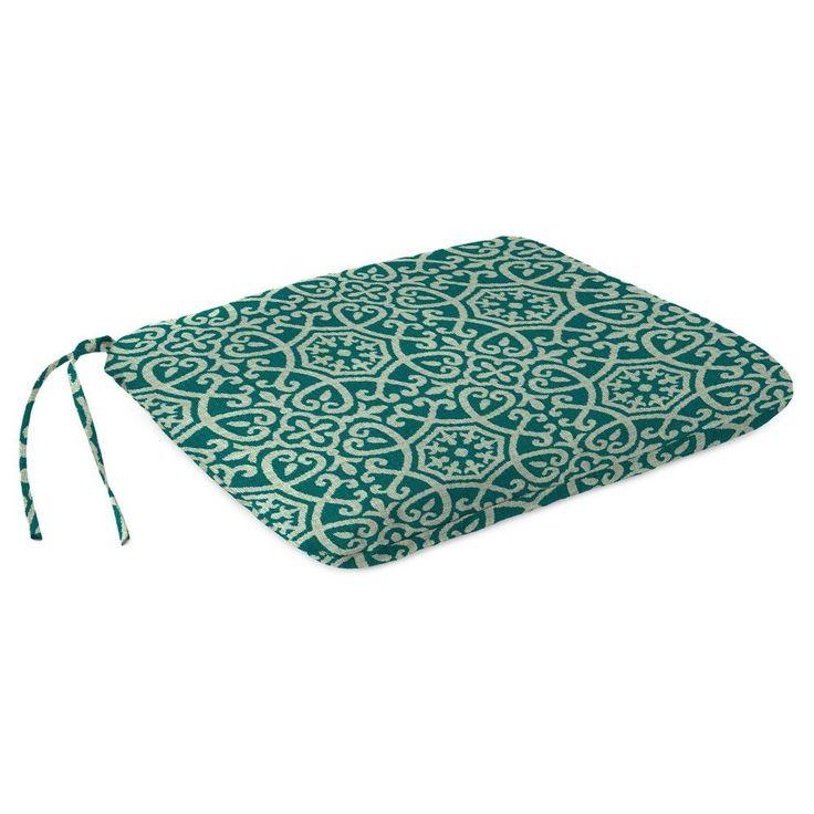 Outdoor Dining Seat Pad In Ayathena Teal - Jordan Manufacturing, Lagoon Turquoise