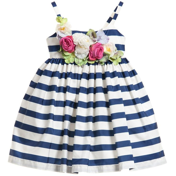 Junior Gaultier Navy Blue & White Striped Dress with Flowers at Childrensalon.com
