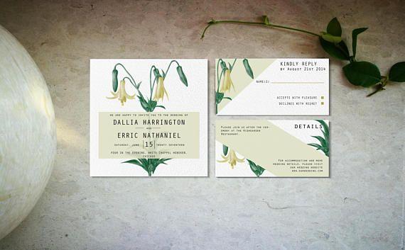 Beige floral wedding invitation template Digital lilies
