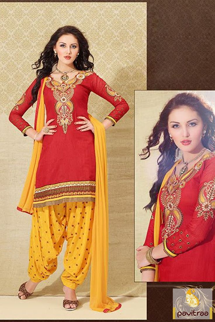 Pavitraa Attractive #Red include #Yellow Casual #Salwar Suit