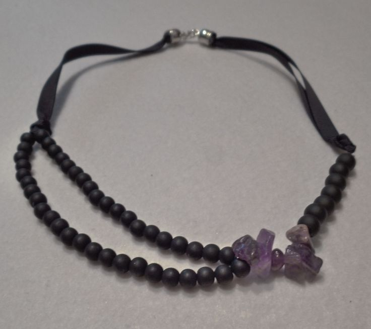 Necklace with matt black glass beads and natural amethyst gemstones, Black matt beaded necklace, Black beads and natural amethyst necklace https://www.etsy.com/listing/214352197/necklace-with-matt-black-glass-beads-and?ref=related-2