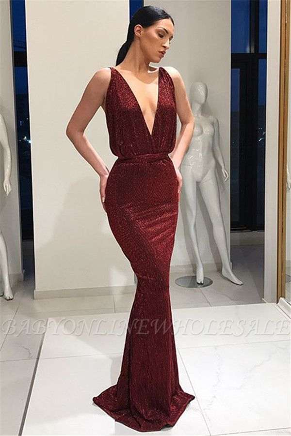 Beautiful Deep V-Neck Sleeveless Lace-up Mermaid Floor-Length Prom Dresses