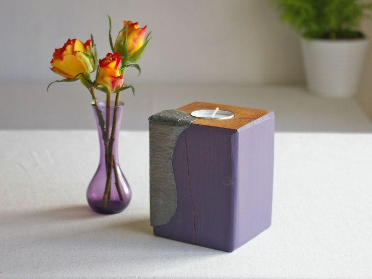 Teelichthalter - Teelichthalter Kerzenständer lila mit Metalldekor - ein Designerstück von SchlueterKunstundDesign bei DaWanda
