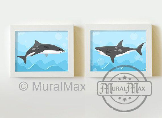 Shark Art for Children, Boy Art Print  Wall Art Boys Room Decor ,Kids Print set of 2 8 x10 Sea  Shark Soft Bites Pottery barn bedding