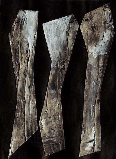 """Three's a Crowd"" Margaret Hage; Acrylic, Impasto Medium, Wax medium, Gesso, Cotton Thread on card."