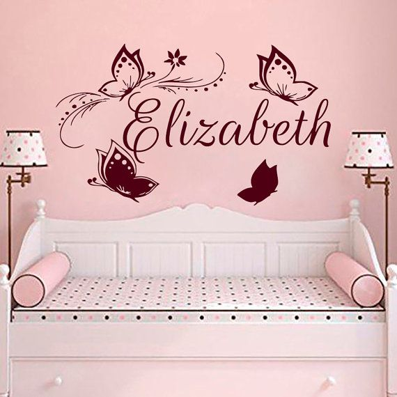 Wall decals butterfly personalized name decal vinyl sticker girl nursery room decor home bedroom interior design