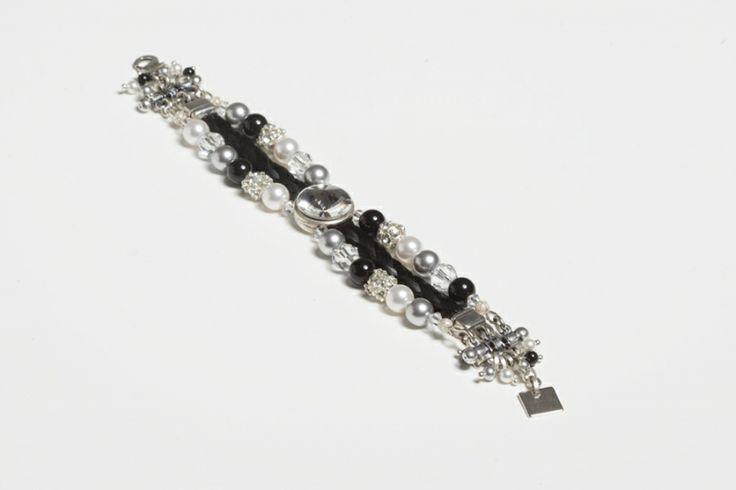 Luxe paardenhaar armband met Swarovski (zwart/wit) met
