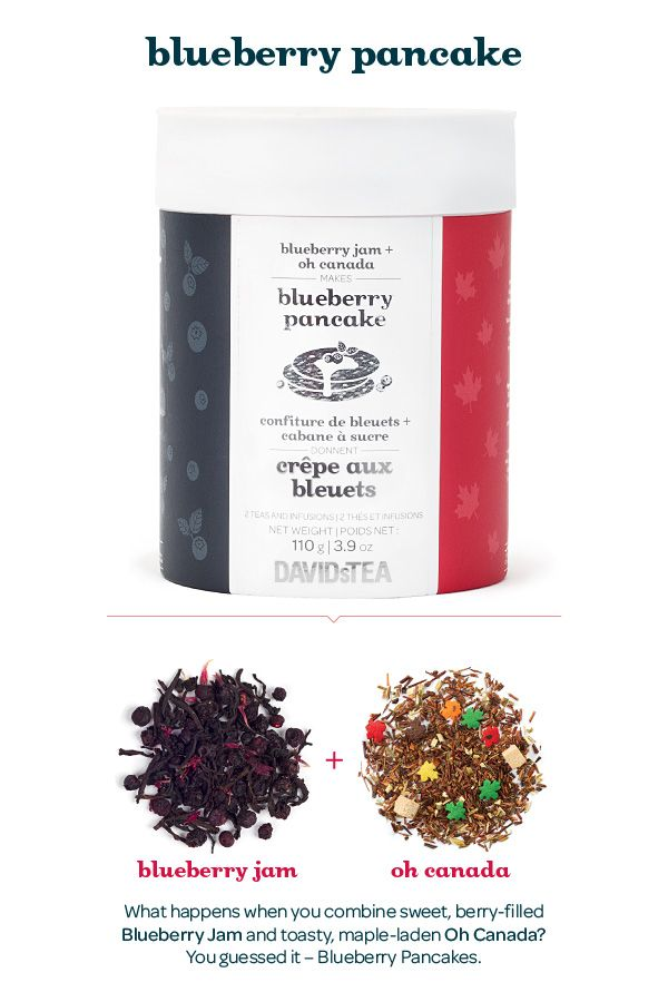 A combo of sweet, berry-filled Blueberry Jam and toasty, maple-laden Oh Canada. Blend them together and you get the perfect Blueberry Pancake. And with each tea in its own compartment, you can mix them up however you like it – or just enjoy them on their own.