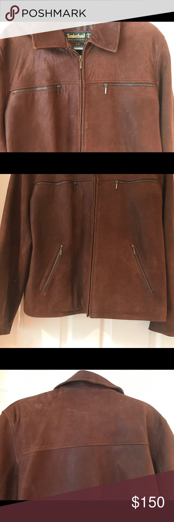 Timberland leather jacket TIMBERLANDGENUINE WATERPROOF LAMBSKIN LEATHER JACKET IN GREAT CONDITION  FOUR EXTERIOR ZIP POCKETS  ZIP FRONT CLOSURE  ZIP SLEEVE AT BOTTOM  FULLY LINED  PLEASE SEE ALL PHOTOS MINIMAL SIGNS OF WEAR AS YOU CAN SEE IN PICTURE OF COLLAR AND ON BACK THE TOP Timberland Jackets & Coats